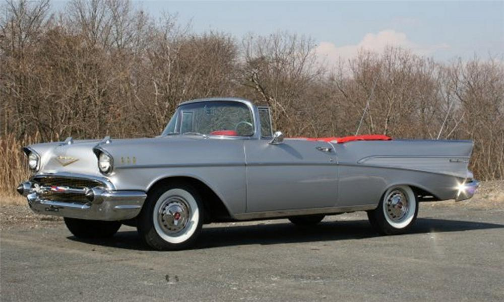 1957 CHEVROLET BEL AIR CONVERTIBLE - Side Profile - 22671