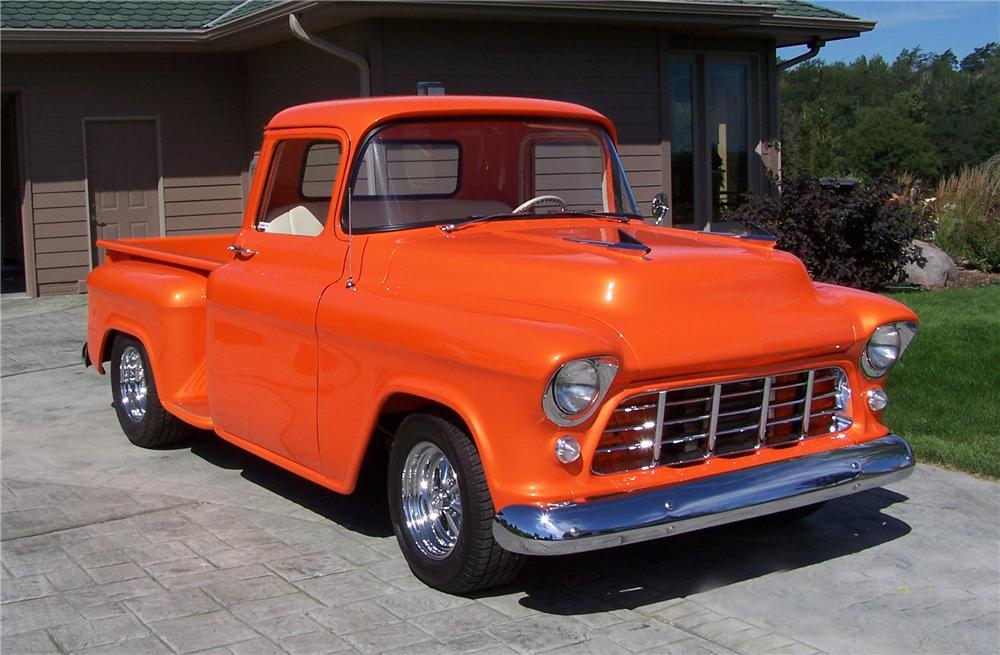 1955 CHEVROLET 3100 CUSTOM PICKUP - Front 3/4 - 43496