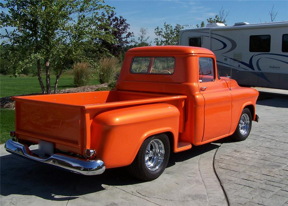 1955 CHEVROLET 3100 CUSTOM PICKUP - Rear 3/4 - 43496