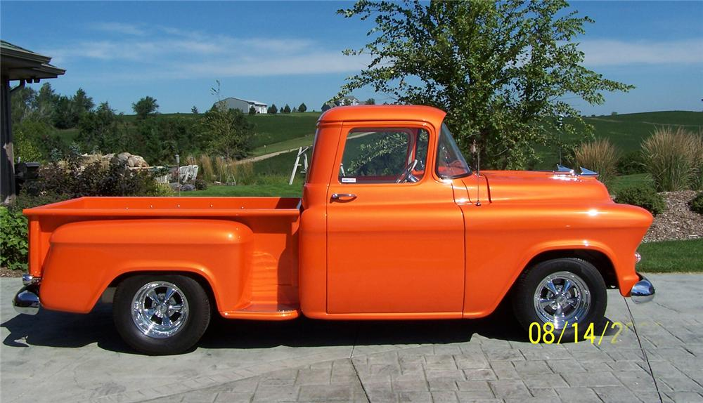 1955 CHEVROLET 3100 CUSTOM PICKUP - Side Profile - 43496