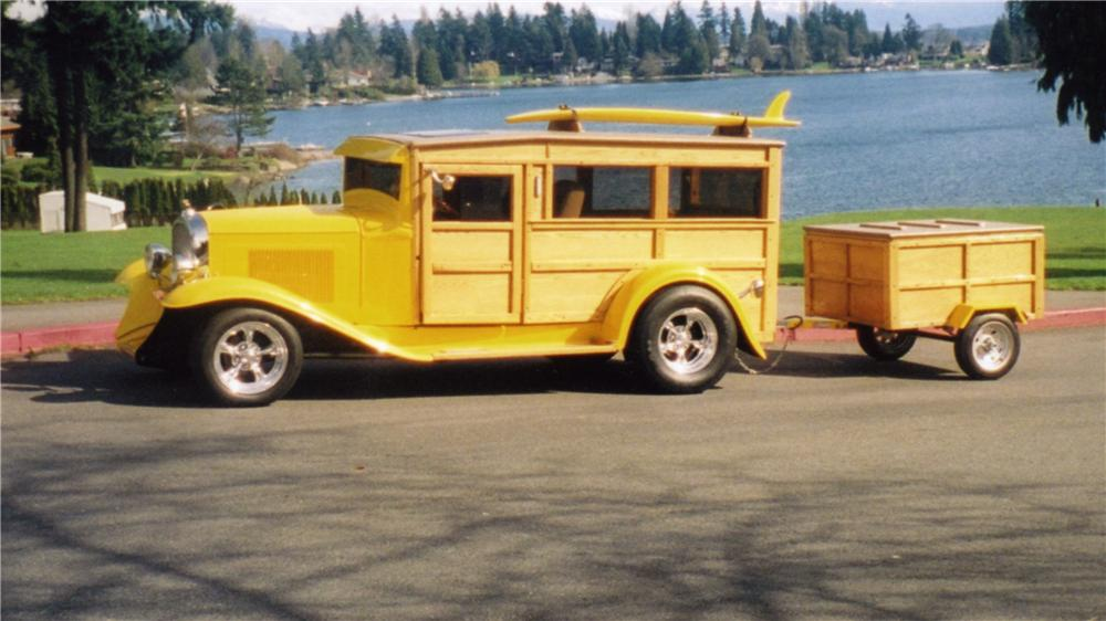 1932 CHEVROLET WOODY CUSTOM WAGON PHANTOM W/ TRAILER - Front 3/4 - 43515