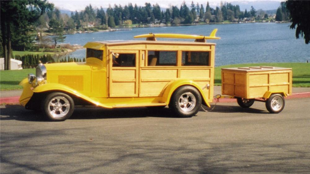 1932 CHEVROLET WOODY CUSTOM WAGON PHANTOM W/ TRAILER - Side Profile - 43515