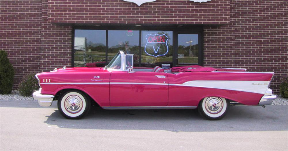 1957 CHEVROLET BEL AIR FI CONVERTIBLE - Side Profile - 43551