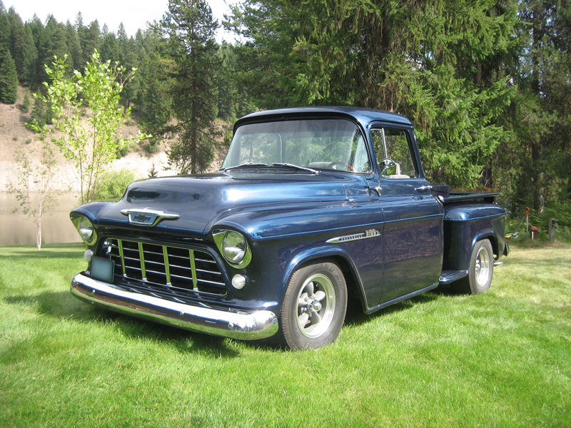1955 CHEVROLET 1500 CUSTOM PICKUP - Front 3/4 - 43613