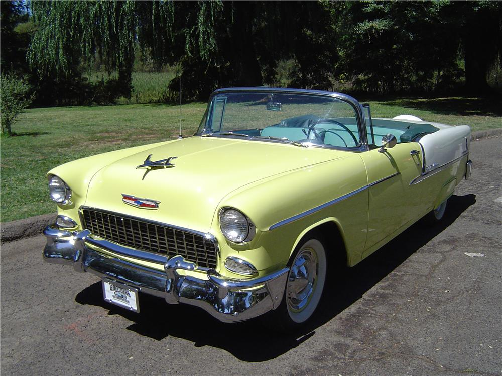 1955 CHEVROLET BEL AIR CONVERTIBLE - Front 3/4 - 43744