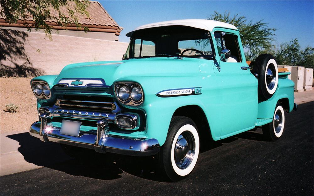 1959 CHEVROLET 3100 CUSTOM PICKUP - Front 3/4 - 43856