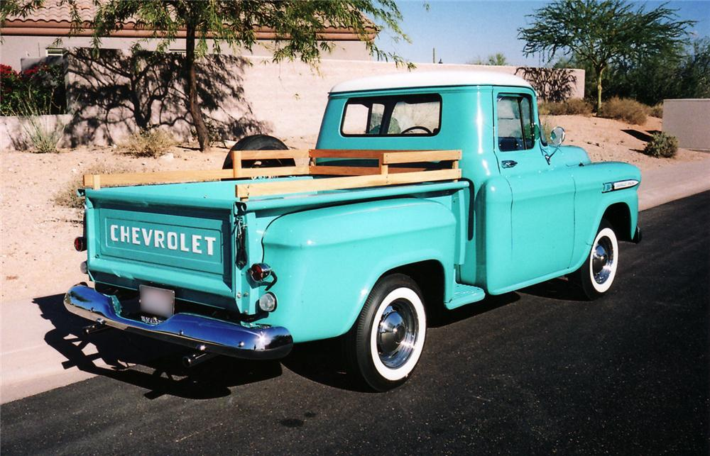 1959 CHEVROLET 3100 CUSTOM PICKUP - Rear 3/4 - 43856