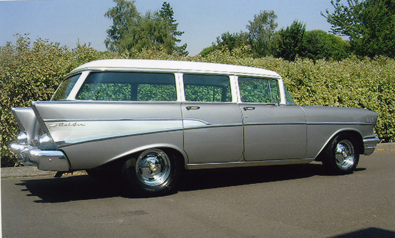 1957 CHEVROLET 210 CUSTOM STATION WAGON - Side Profile - 44046