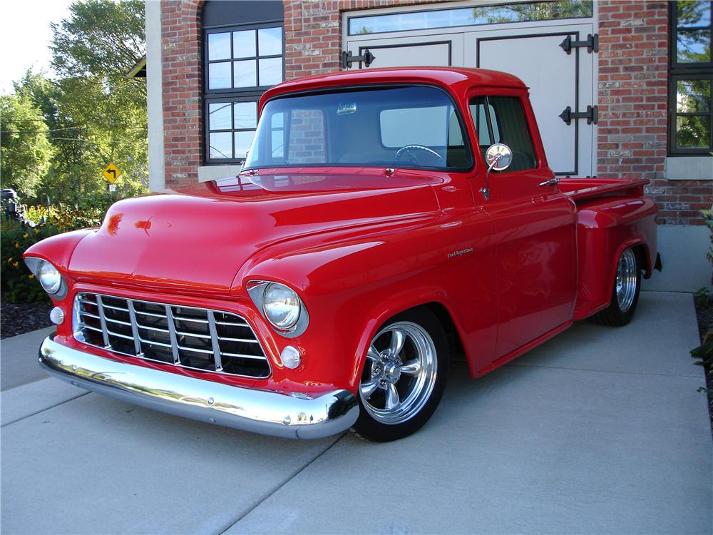 1955 CHEVROLET 3100 CUSTOM PICKUP - Front 3/4 - 44076