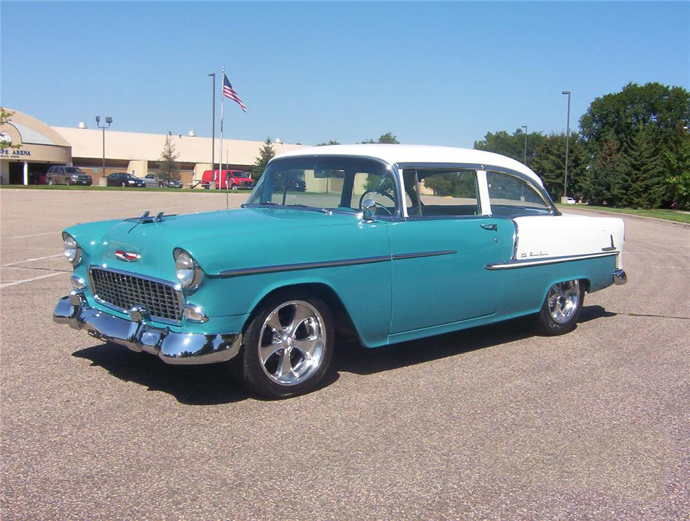 1955 CHEVROLET BEL AIR CUSTOM 2 DOOR POST - Front 3/4 - 44120
