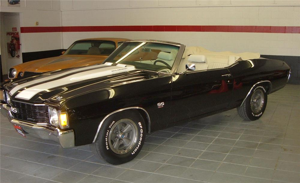 1972 CHEVROLET CHEVELLE 2 DOOR CONVERTIBLE - Side Profile - 44438