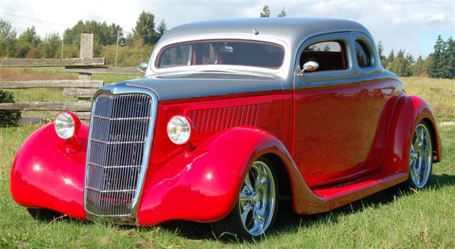 1935 FORD CUSTOM 2 DOOR COUPE - Front 3/4 - 44566