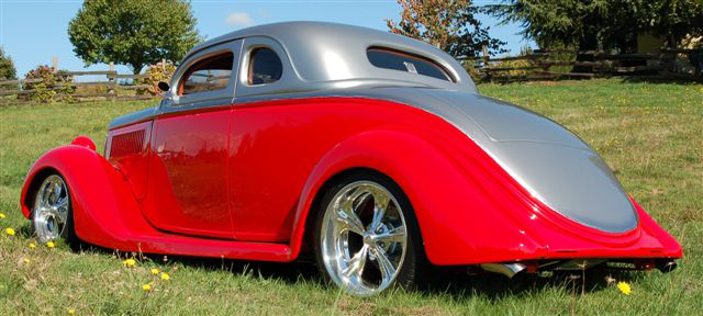 1935 FORD CUSTOM 2 DOOR COUPE - Rear 3/4 - 44566