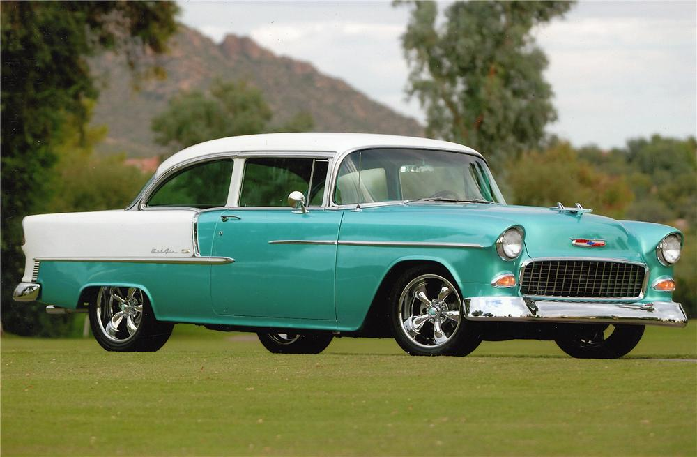1955 CHEVROLET BEL AIR CUSTOM 2 DOOR SEDAN - Front 3/4 - 45002