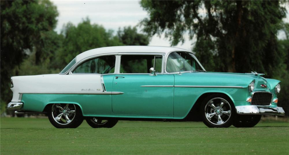 1955 CHEVROLET BEL AIR CUSTOM 2 DOOR SEDAN - Side Profile - 45002