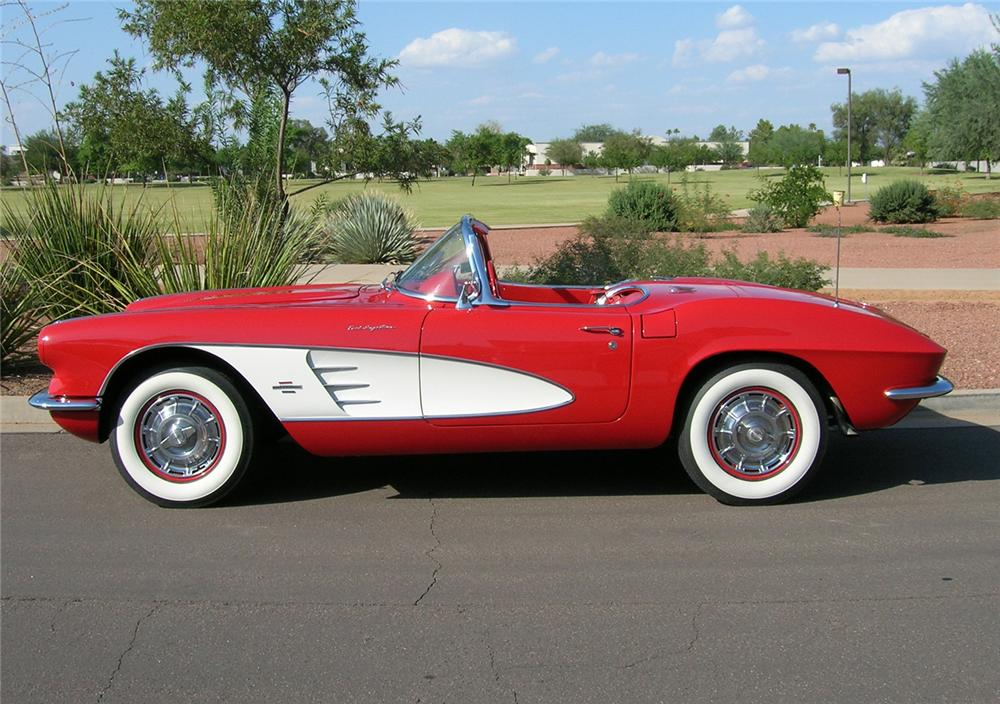 1961 CHEVROLET CORVETTE CONVERTIBLE FUELIE - Side Profile - 45470