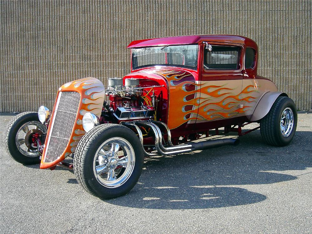 1929 FORD MODEL A CUSTOM HOT ROD COUPE - Front 3/4 - 48957