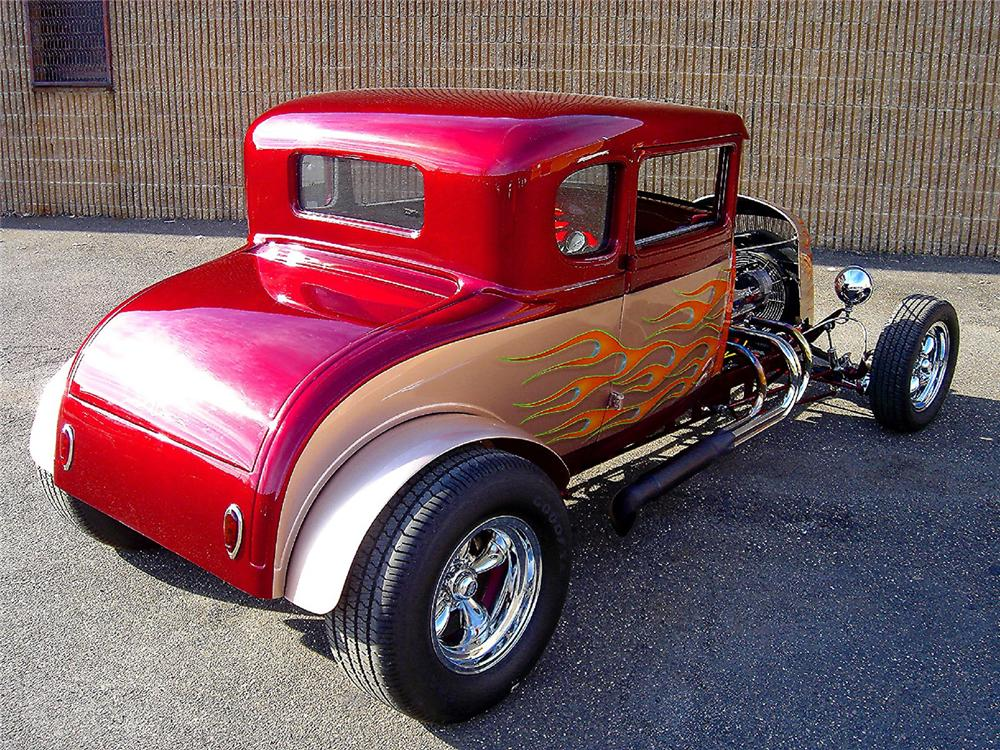 1929 FORD MODEL A CUSTOM HOT ROD COUPE - Rear 3/4 - 48957