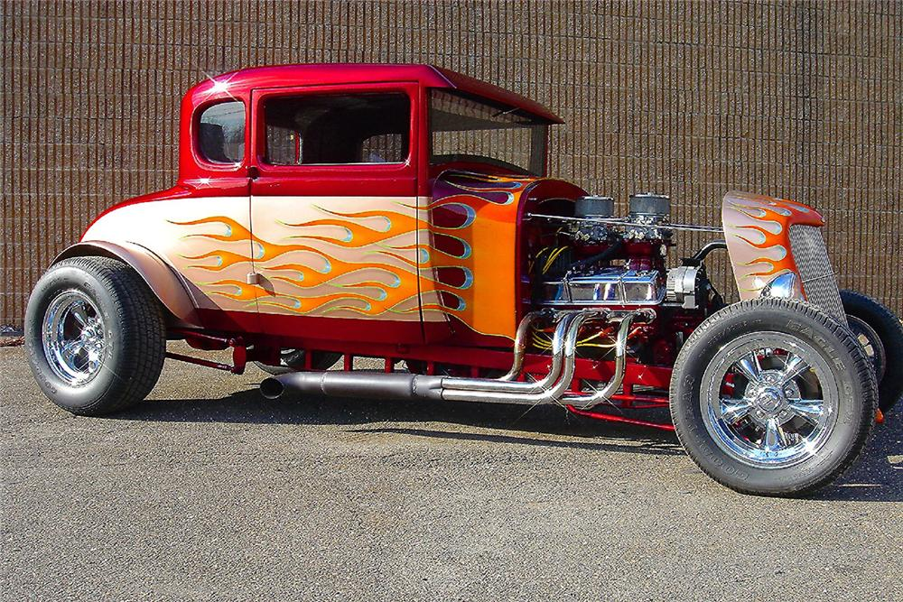 1929 FORD MODEL A CUSTOM HOT ROD COUPE - Side Profile - 48957