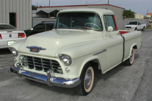 1955 CHEVROLET CAMEO PICKUP - Front 3/4 - 49009