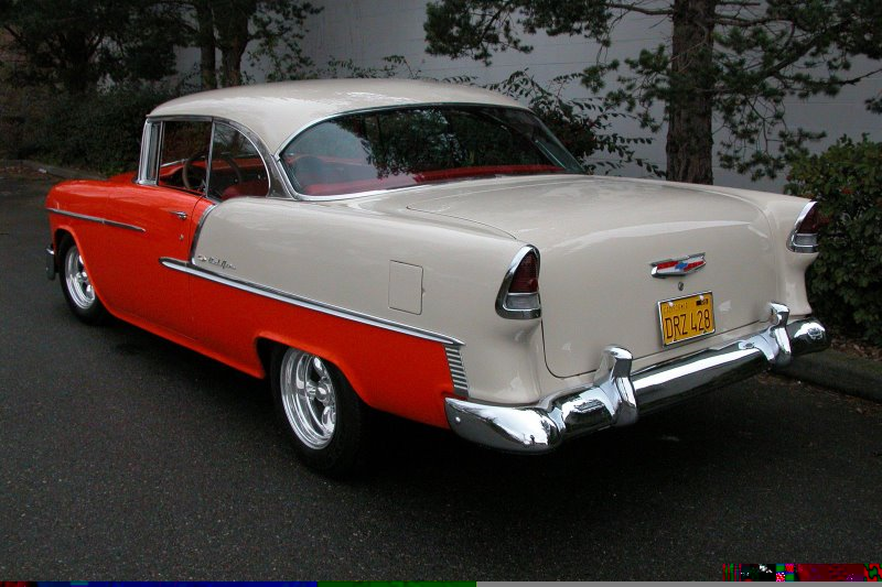 1955 CHEVROLET BEL AIR CUSTOM 2 DOOR HARDTOP - Rear 3/4 - 49211