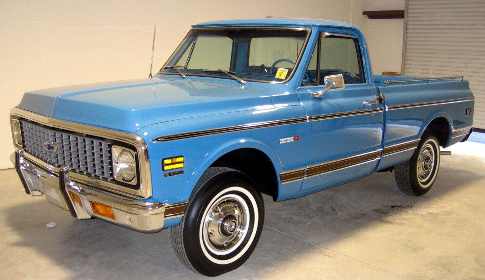 1972 CHEVROLET CHEYENNE SHORT BED PICKUP - Front 3/4 - 49533