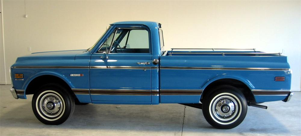 1972 CHEVROLET CHEYENNE SHORT BED PICKUP - Side Profile - 49533