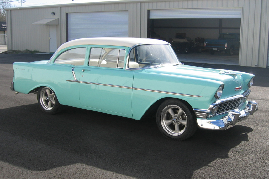 1956 CHEVROLET 150 CUSTOM 2 DOOR HARDTOP - Front 3/4 - 49540