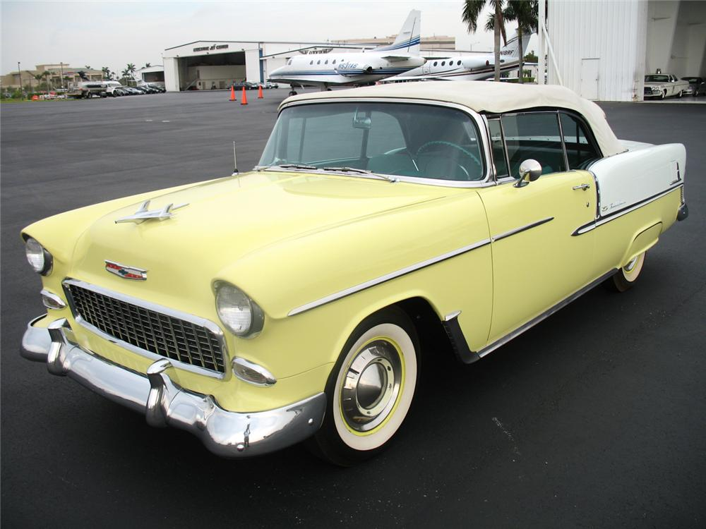 1955 CHEVROLET BEL AIR CONVERTIBLE - Front 3/4 - 50027