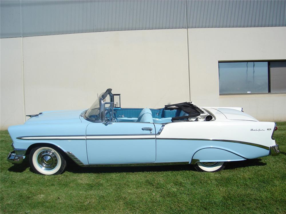 1956 CHEVROLET BEL AIR CONVERTIBLE - Side Profile - 60702