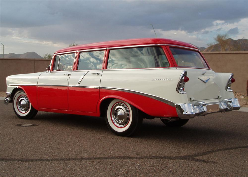1956 CHEVROLET 210 4 DOOR STATION WAGON - Rear 3/4 - 61107
