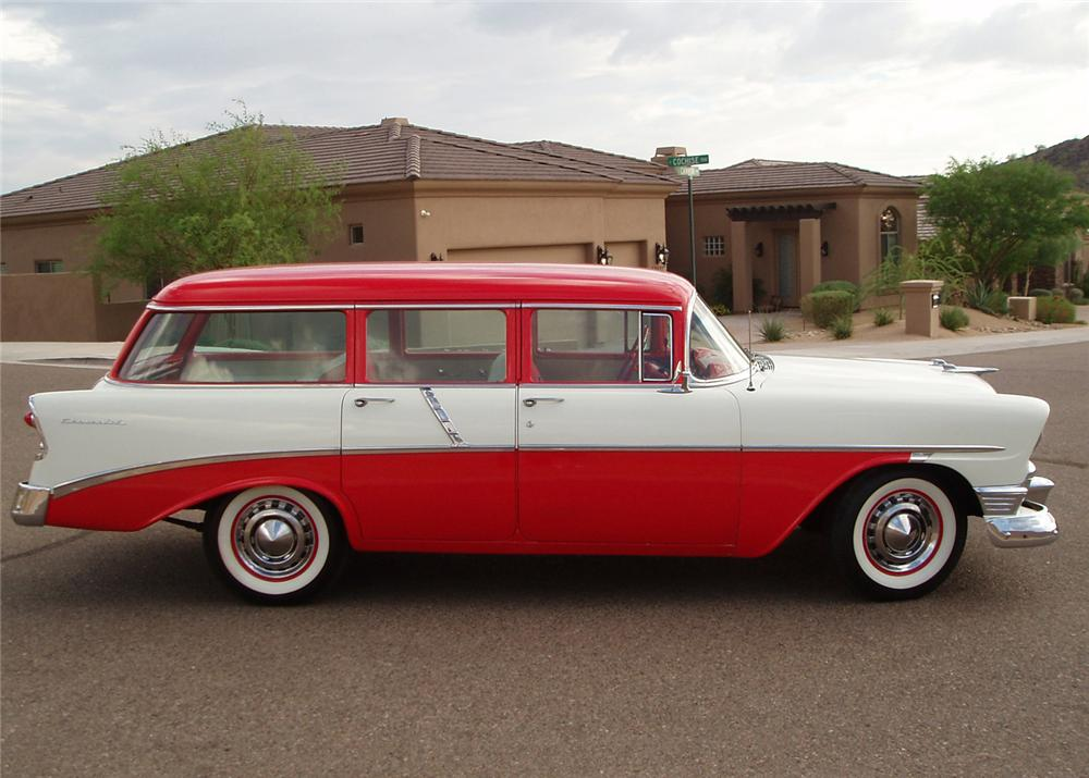 1956 CHEVROLET 210 4 DOOR STATION WAGON - Side Profile - 61107