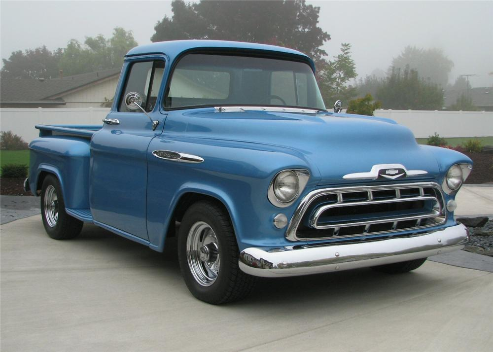 1957 CHEVROLET 3100 CUSTOM 1/2 TON PICKUP - Front 3/4 - 61373