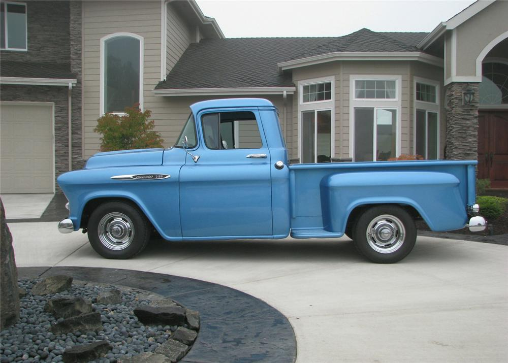 1957 CHEVROLET 3100 CUSTOM 1/2 TON PICKUP - Side Profile - 61373