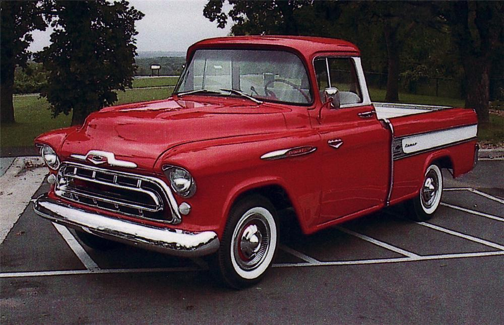 1957 CHEVROLET CAMEO PICKUP - Front 3/4 - 61676