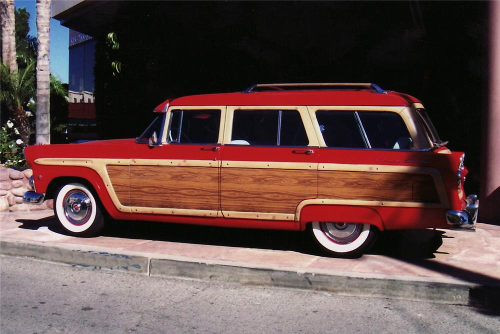1955 FORD COUNTRY SQUIRE 4 DOOR WOODY WAGON - Side Profile - 61721