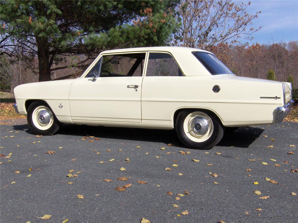 1966 CHEVROLET CHEVY II CUSTOM 2 DOOR SEDAN - Side Profile - 64002
