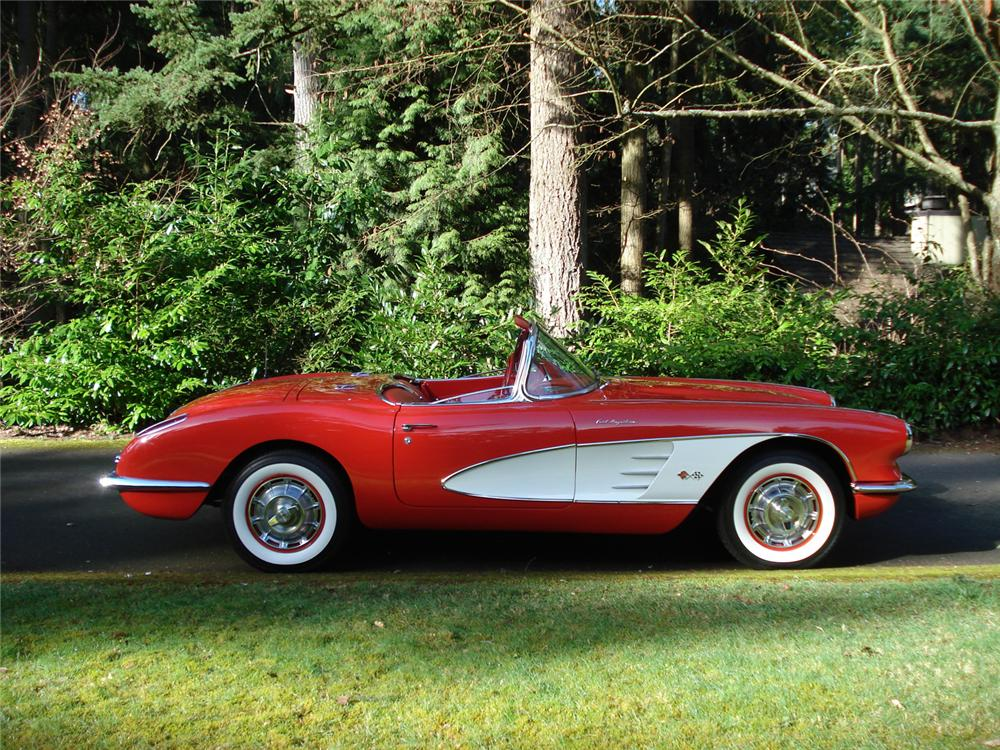 1960 CHEVROLET CORVETTE FI CONVERTIBLE - Side Profile - 64267