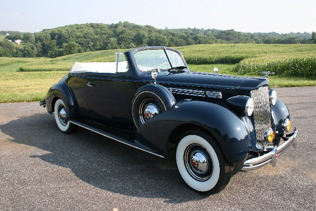 1938 PACKARD SUPER 8 2 DOOR CONVERTIBLE COUPE - Front 3/4 - 66000