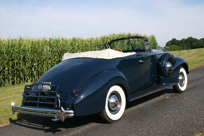 1938 PACKARD SUPER 8 2 DOOR CONVERTIBLE COUPE - Rear 3/4 - 66000