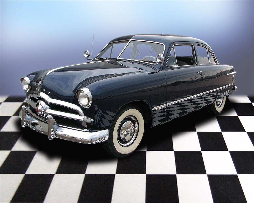1949 FORD CUSTOM DELUXE 2 DOOR SEDAN - Front 3/4 - 66034