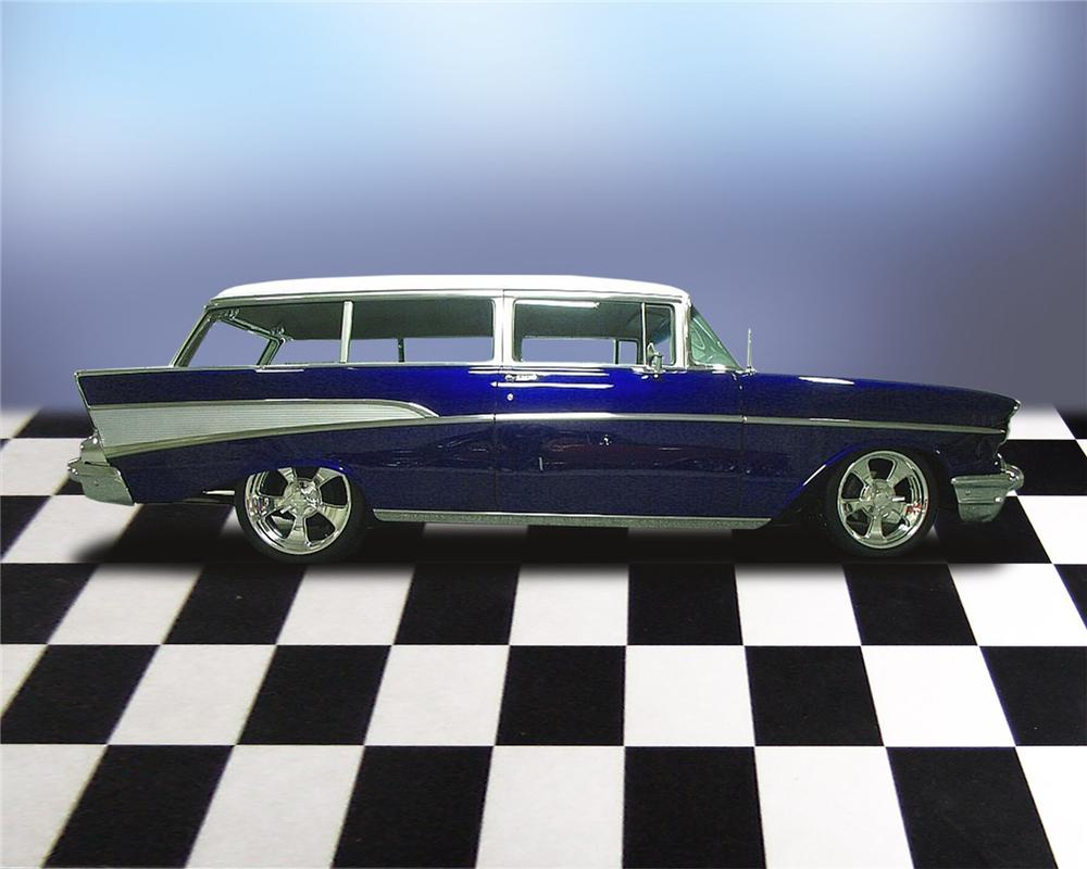 1957 CHEVROLET 210 PRO-TOURING 2 DOOR WAGON - Front 3/4 - 66044