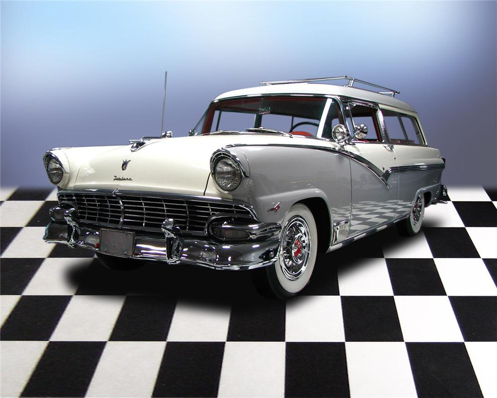1956 FORD PARKLANE 2 DOOR STATION WAGON - Front 3/4 - 66051