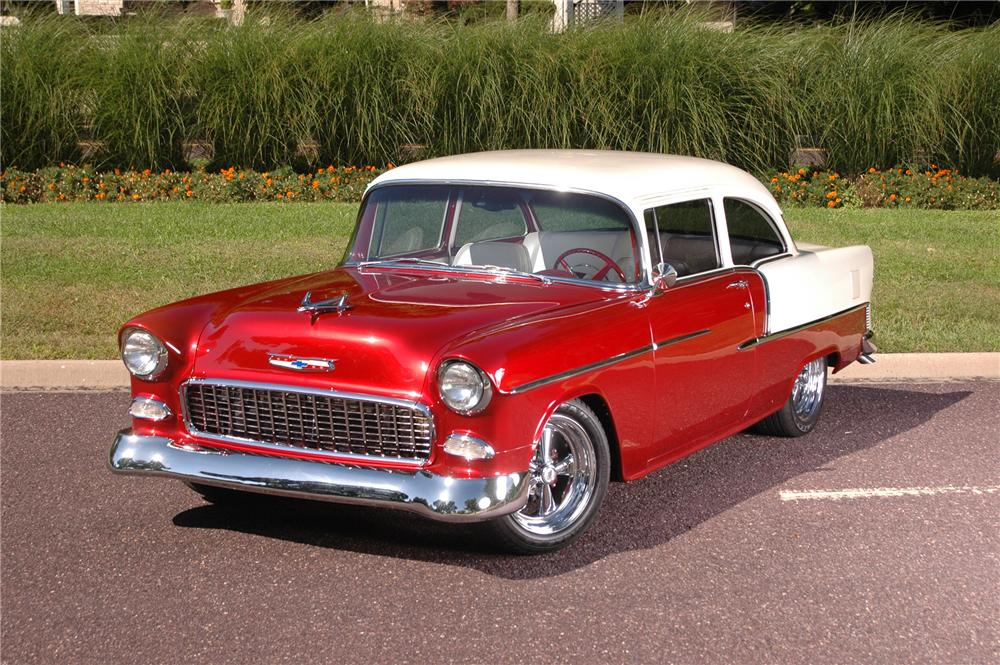 1955 CHEVROLET BEL AIR CUSTOM 2 DOOR COUPE - Front 3/4 - 70626