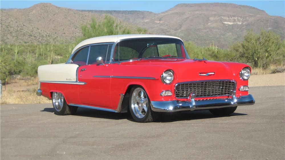 1955 CHEVROLET BEL AIR CUSTOM 2 DOOR HARDTOP - Front 3/4 - 70655