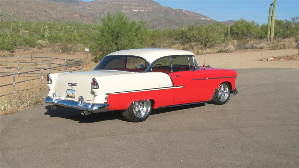 1955 CHEVROLET BEL AIR CUSTOM 2 DOOR HARDTOP - Rear 3/4 - 70655