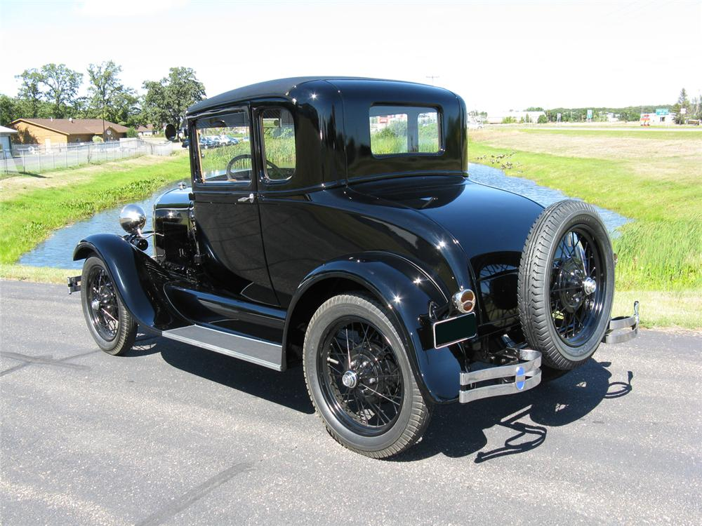 1929 FORD MODEL A 5 WINDOW STANDARD COUPE - Rear 3/4 - 70711