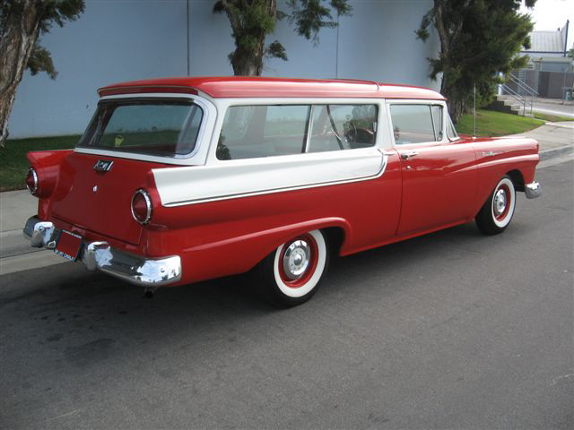 1957 FORD RANCH WAGON 2 DOOR STATION WAGON - Rear 3/4 - 70744