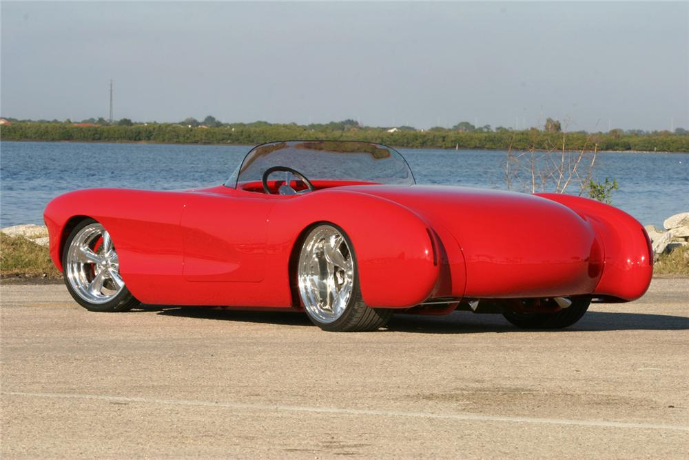 1956 CHEVROLET CORVETTE CUSTOM ROADSTER - Rear 3/4 - 70756