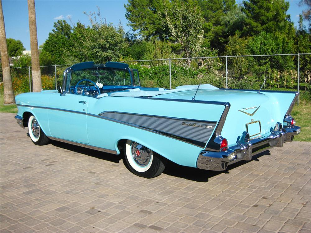 1957 CHEVROLET BEL AIR CONVERTIBLE - Rear 3/4 - 70843